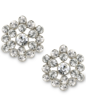 1930s Costume Jewelry 2028 Silver-Tone Crystal Cluster Button Earrings $26.00 AT vintagedancer.com