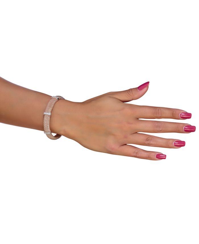 Macy's Diamond Mesh-Look Station Bangle Bracelet (1/4 ct. t.w.) in Sterling Silver & 14k Rose Gold-Plated Sterling Silver & Reviews - Bracelets - Jewelry & Watches - Macy's