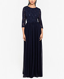 Betsy & Adam Sequin-Lace Gown