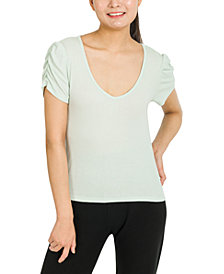 Hippie Rose Juniors' Ruched-Sleeve Top