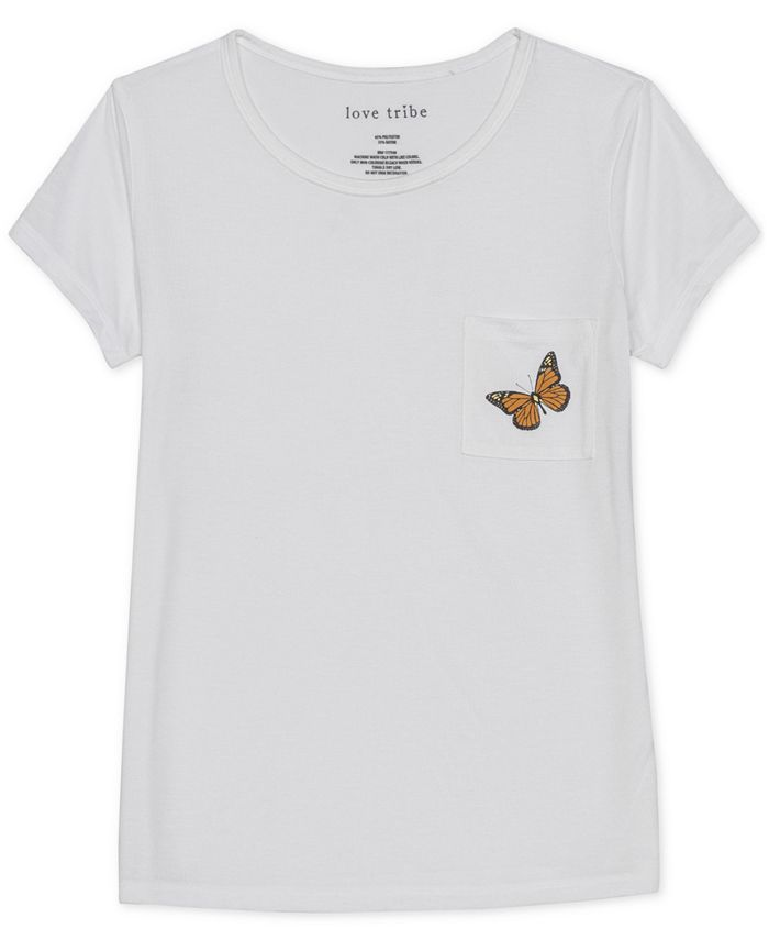 Love Tribe - Juniors' Butterfly Graphic T-Shirt