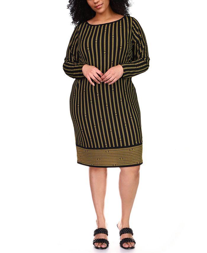 Michael Kors - Plus Size Striped Chain-Print Border Shift Dress