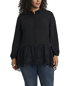 Women's Plus Size Long Sleeve Peplum Tunic with Lace