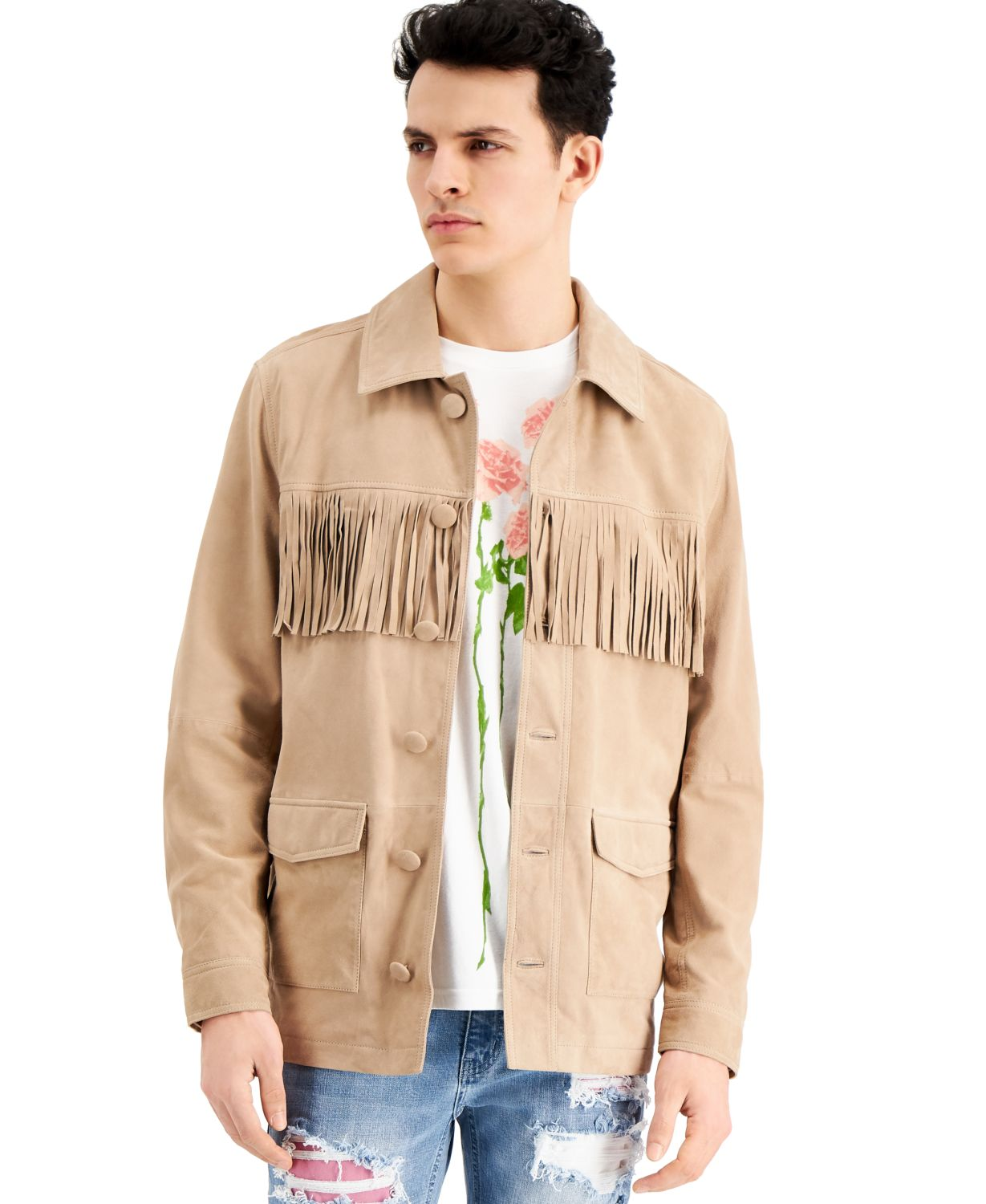 INC International Concepts INC ONYX Men's Fringed Suede Jacket, Created for Macy's & Reviews - Coats & Jackets - Men - Macy's