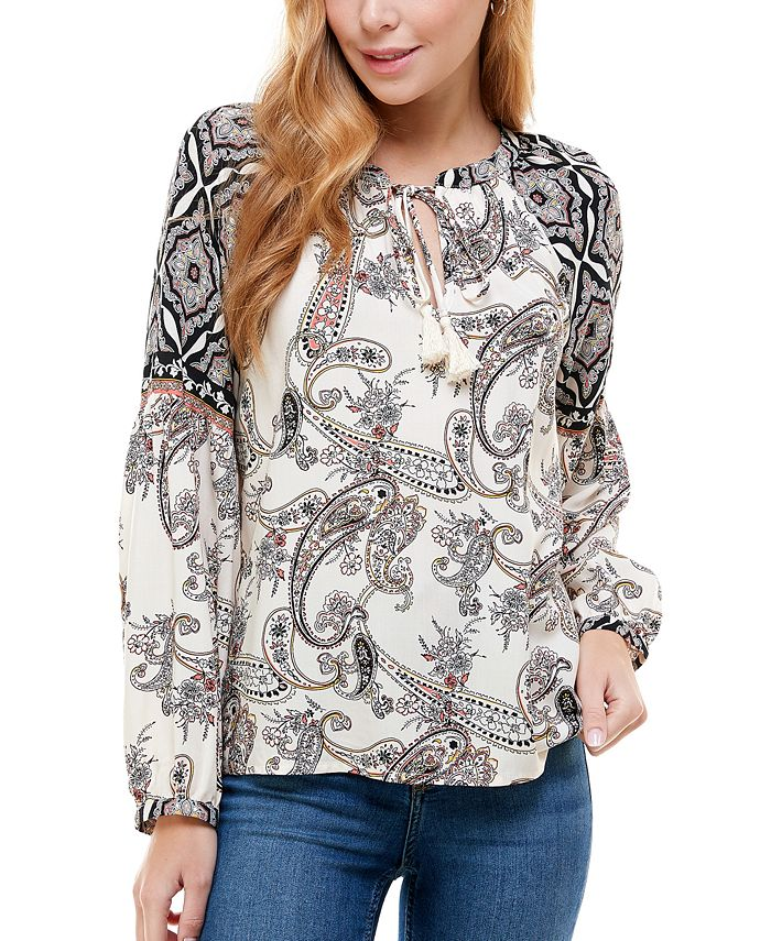 Kingston Grey - Juniors' Paisley-Print Split-Neck Top