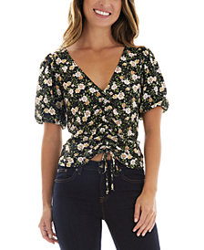 BCX Juniors' Floral Puffed Sleeve Front Cinched Top