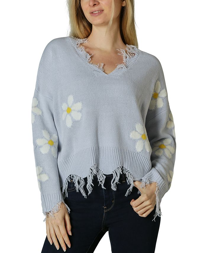 Polly & Esther - Juniors' Daisy Destructed Sweater