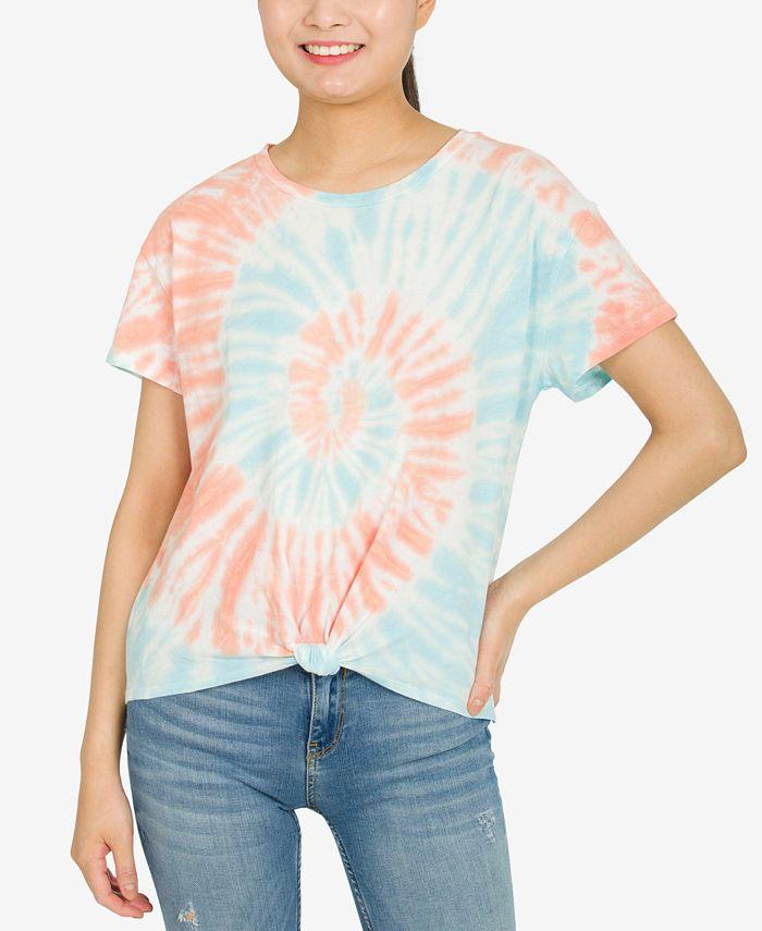 Hippie Rose - Juniors' Twist-Front Cotton T-Shirt