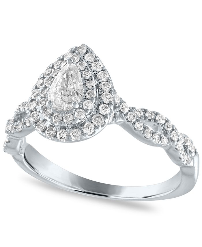 Macy's - Diamond Pear Double Halo Engagement Ring (5/8 ct. t.w.) in 14k White Gold