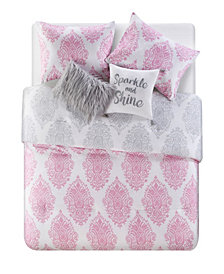 VCNY Home Love The Little Things Damask 4 Piece Comforter Set, Twin