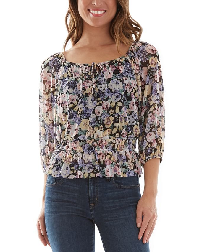 BCX - Juniors' Floral-Print Top