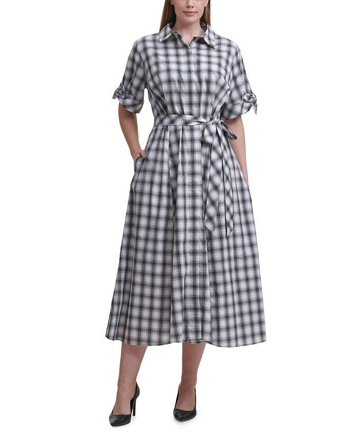 Calvin Klein - Plus Size Checkered Shirtdress