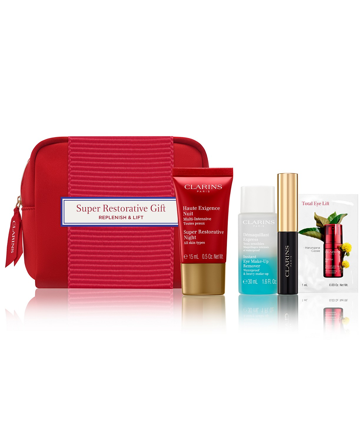 Choose your FREE 5-piece Gift with any $75 Clarins Purchase (Up to a $67 value!)