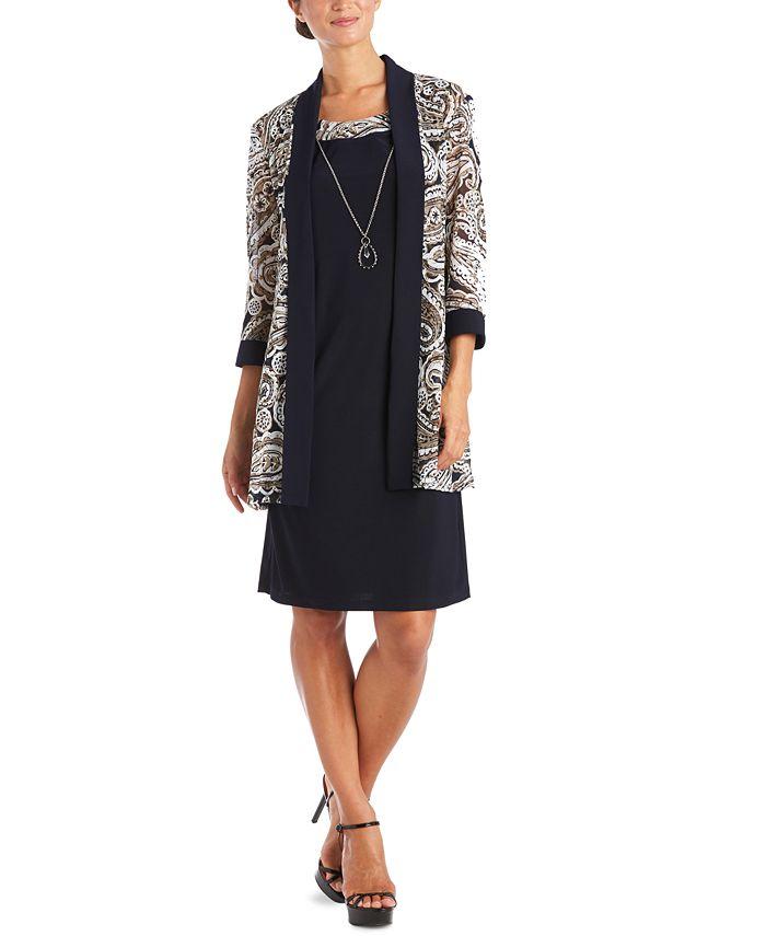 R & M Richards - 2-Pc. Printed Jacket & Necklace Dress