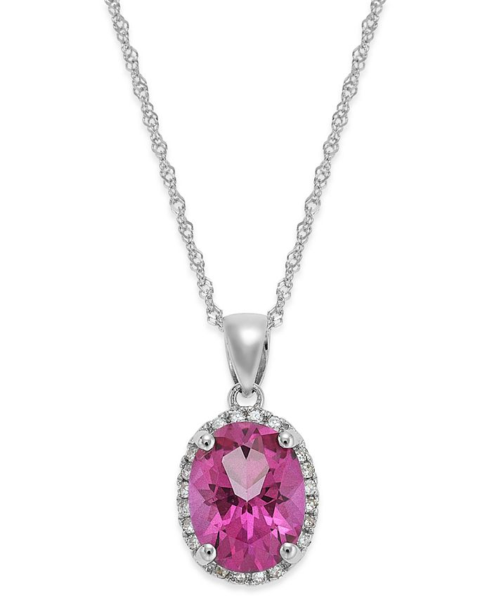 Macy's - 14k White Gold Pink Topaz (2 ct. t.w.) and Diamond Accent Pendant Necklace