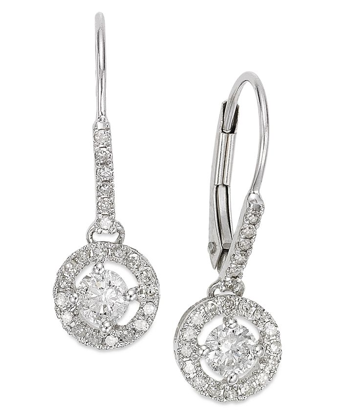 Macy's - Diamond Round Drop Earrings in 14k White Gold, Yellow Gold or Rose Gold (1/2 ct. t.w.)