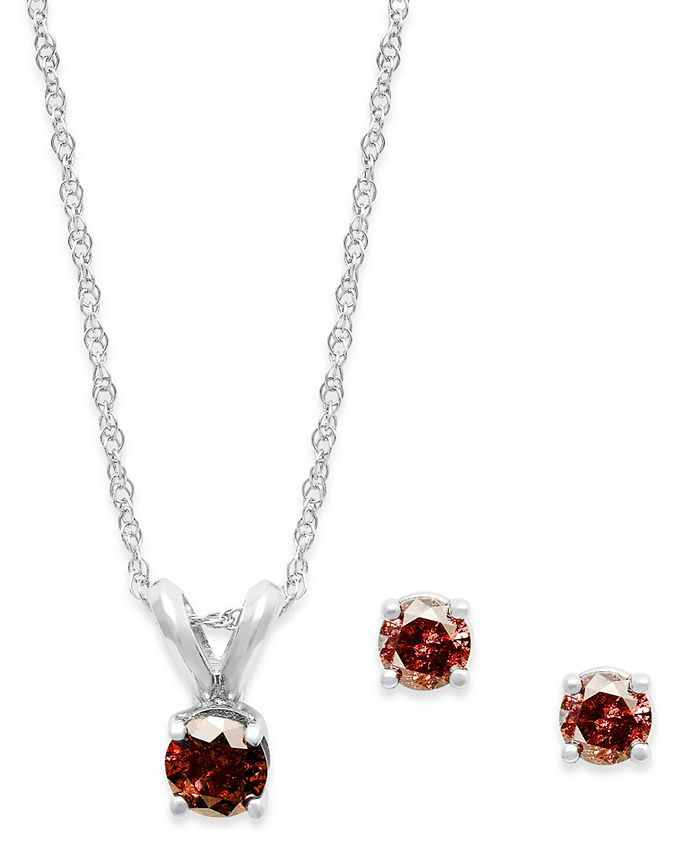 Macy's - 10k White Gold Red Diamond Necklace and Earring Set (1/4 ct. t.w.)