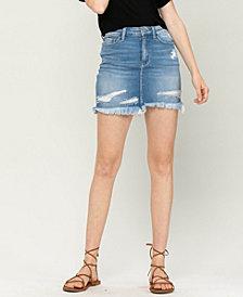Women's Distressed Raw Hem Mini Denim Skirt