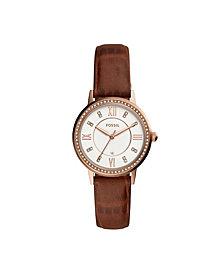 Fossil Women's Gwen Brown Leather Strap Watch 34mm