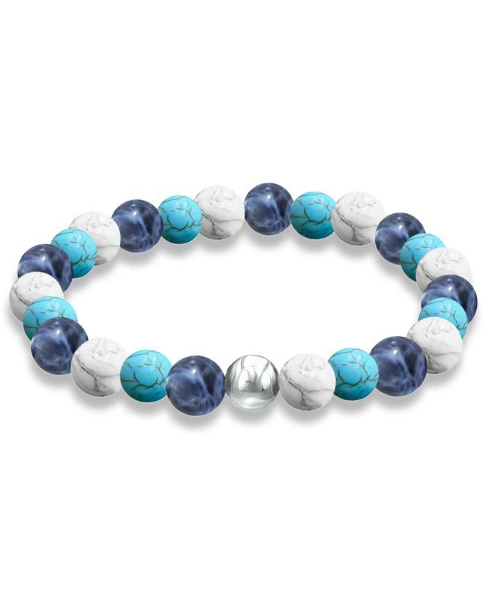 Macy's Genuine Stone Bead Stretch Bracelet with Fine Silver Plate Bead Accent & Reviews - Bracelets - Jewelry & Watches - Macy's