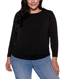 Belldini Black Label Plus Size Long Sleeve Blouson Top