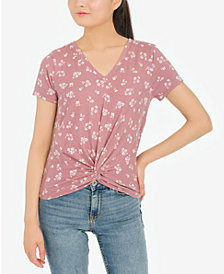 Pink Rose Juniors' Twist-Front Floral-Print Top