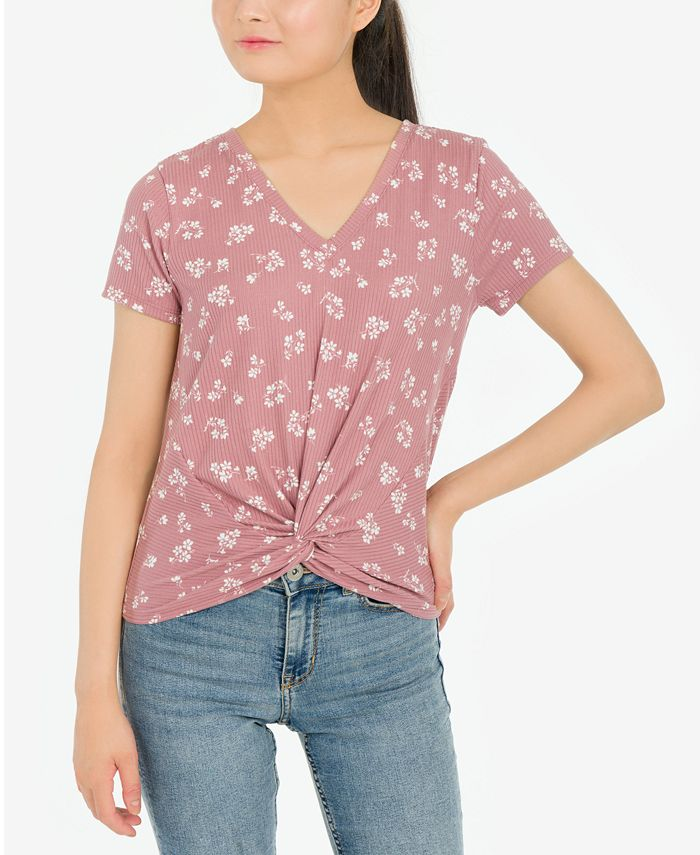 Pink Rose - Juniors' Twist-Front Floral-Print Top