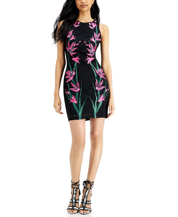 GUESS - Embroidered Mesh Sheath Dress