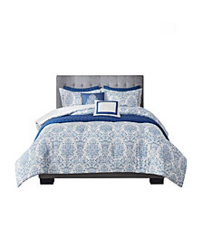 Madison Park August King/California King Printed Seersucker Comforter and Coverlet Collection, Set of 8
