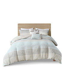 Urban Habitat Hayes King/California King Woven Stripe Cotton Gauze Duvet Cover, Set of 5