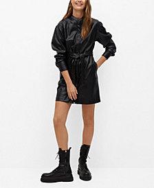 MANGO Women's Faux-Leather Shirt Dress