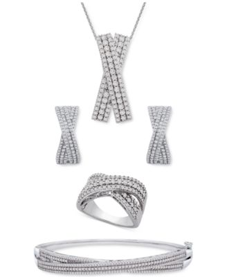 Diamond Multi-Row Crossover Bangle Bracelet (1 ct. t.w.) in Sterling Silver, Created for Macy's