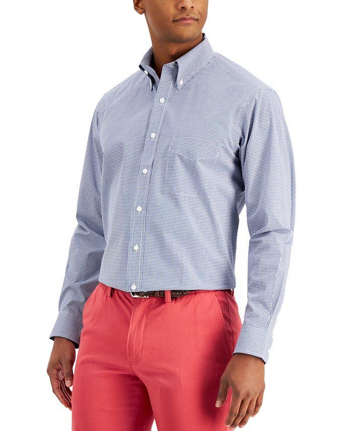 Club Room - Men's Classic/Regular Fit Stretch Mini Gingham Dress Shirt