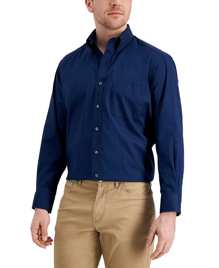 Club Room - Men's Classic/Regular Fit Performance Stretch Pinpoint Solid Dress Shirt