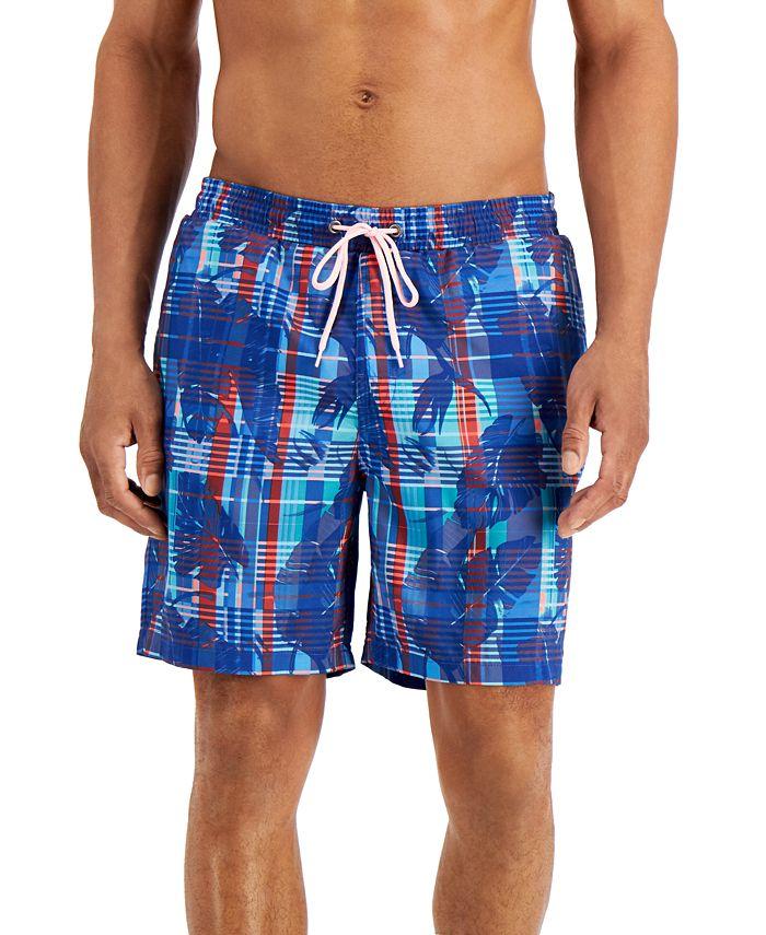 "Club Room - Men's Regular-Fit Quick-Dry Plaid Leaf-Print 7"" Board Shorts"