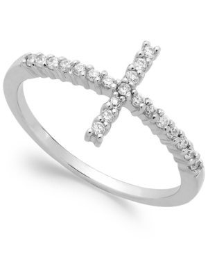 B. Brilliant Sterling Silver Cubic Zirconia Cross Ring (1/5 ct. t.w.)