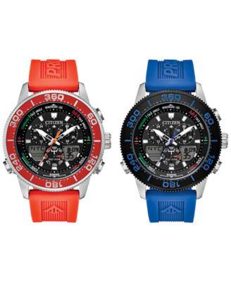 Eco-Drive Men's Promaster Sailhawk Analog-Digital Blue Polyurethane Strap Watch 44mm