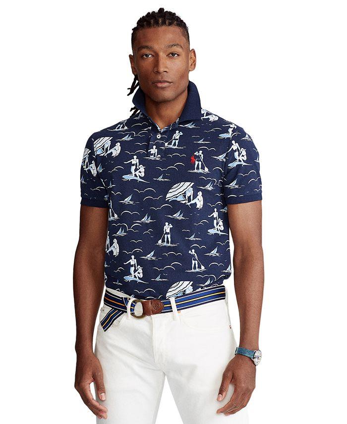 Men's Big & Tall Swimmer-Print Mesh Polo Shirt