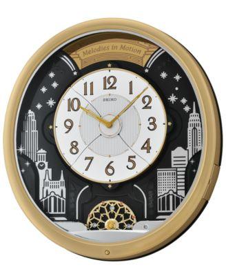seiko wall clock wood melodies in motion qxm275brh