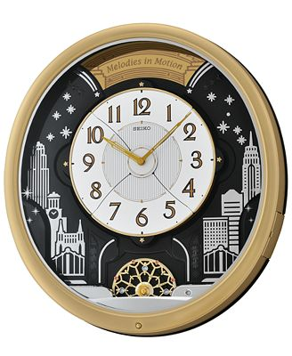seiko gold tone melodies in motion wall clock qxm482grh