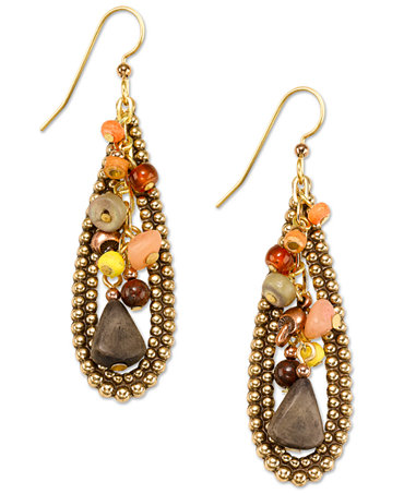 Silver Forest Earrings Gold Tone Earthy Bead Cluster