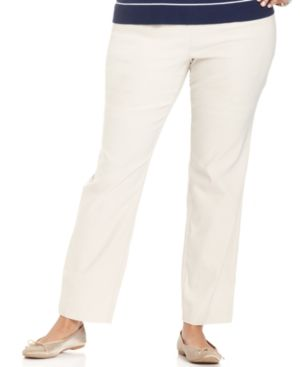 Charter Club Plus Size Tummy-Control Slim-Leg Pull-On Pants