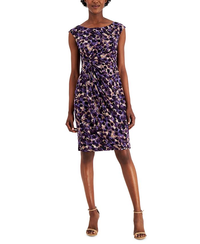 Connected - Petite Printed Ruched Sheath Dress