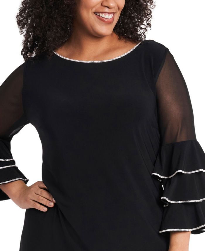 MSK Plus Size Embellished Illusion-Sleeve Shift Dress   & Reviews - Dresses - Plus Sizes - Macy's