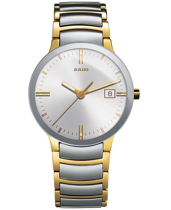 Rado Watch, Men's Swiss Centrix Two-Tone Stainless Steel Bracelet 38mm R30931103