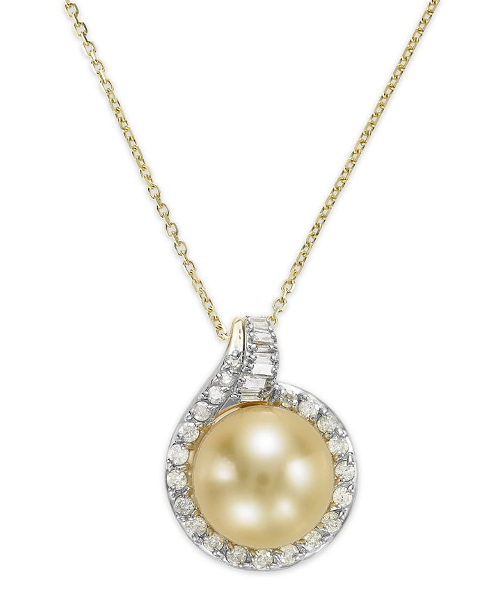 Macy's - 14k Gold Golden South Sea Pearl (12mm) and Diamond (1/2 ct. t.w.) Pendant Necklace