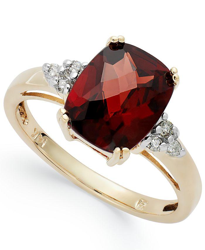 Macy's - 14k Gold Garnet (3-1/2 ct. t.w.) and Diamond (1/10 ct. t.w.) Ring