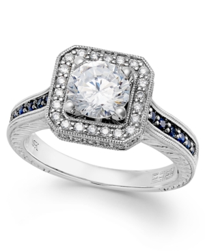 Effy Bridal Certified Diamond (1-1/3 ct. t.w.) and Sapphire (1/4 ct. t.w.) Engagement Ring in 18k White Gold