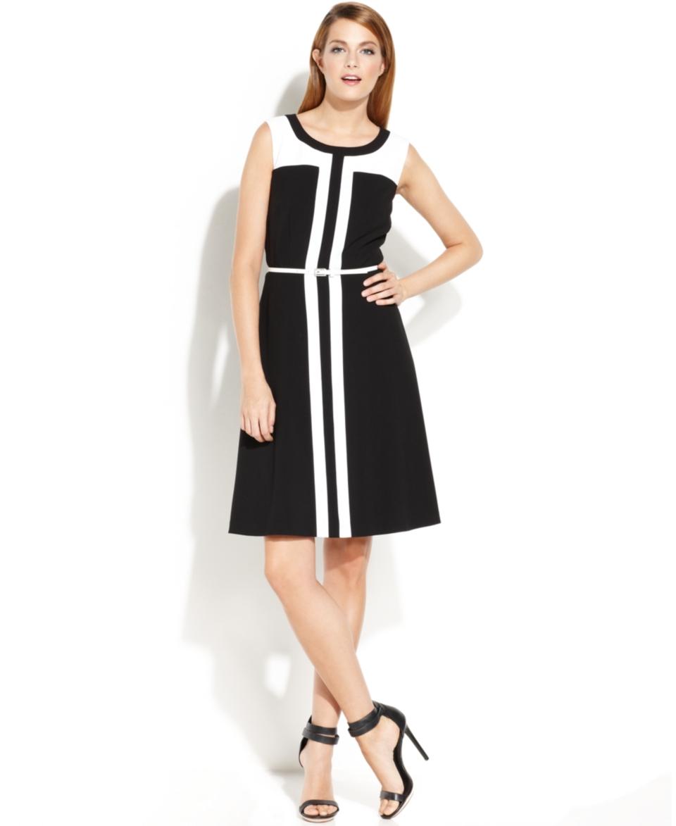 Calvin Klein Sleeveless Belted Colorblock Dress   Dresses   Women