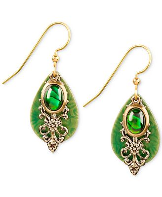 silver forest gold tone green layered drop earrings